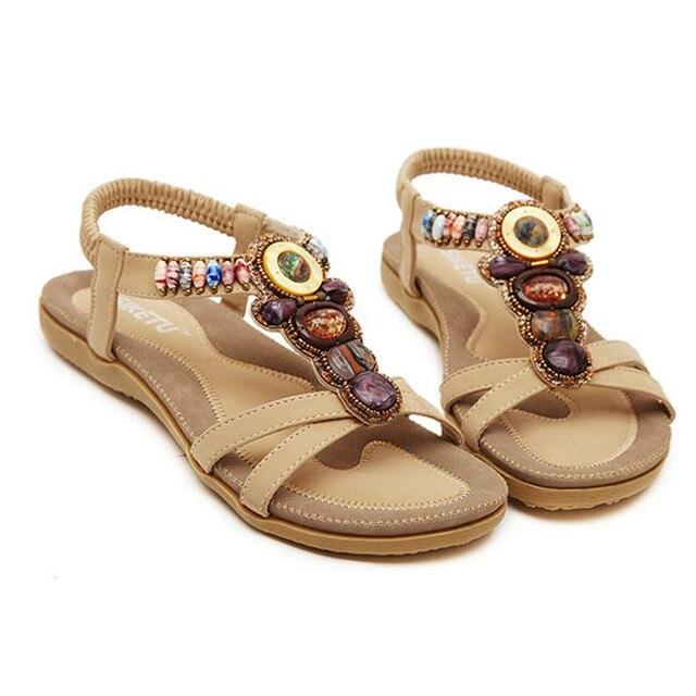 bf0de9300d9f Women s Shoes Fashion Sweet Beaded Clip Toe Flats Bohemian Herringbone  Sandals Summer Style Vintage Flip Flops Bohemia Fashion