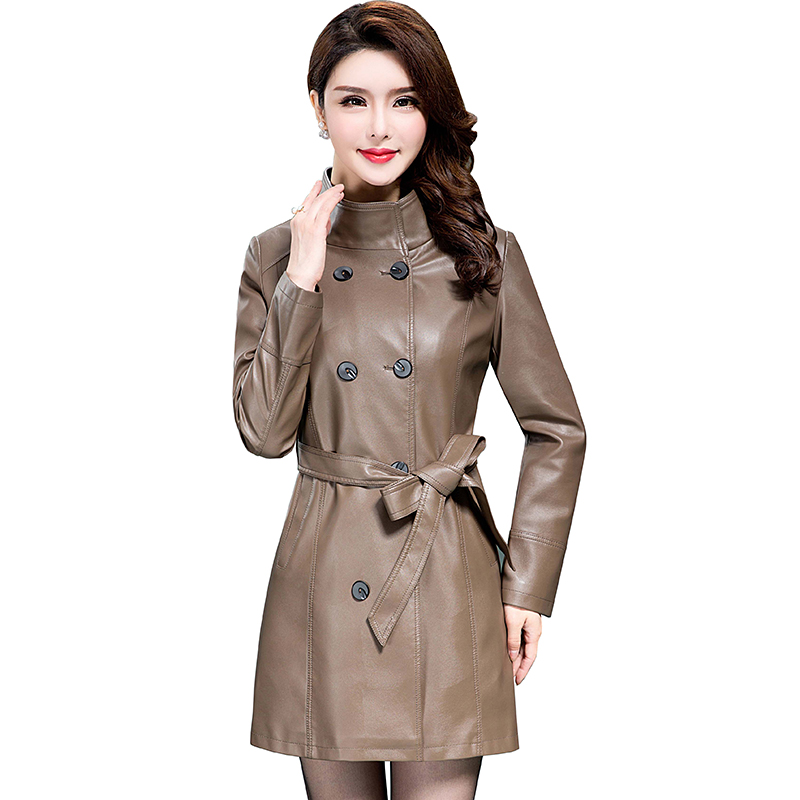 women plus size PU   leather   slim jacket coat 2017 autumn winter female long Windbreaker belt Double breasted fashion parka QH0679