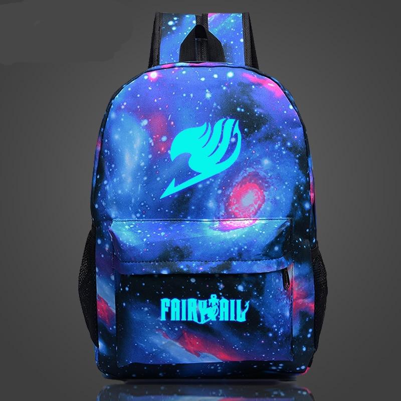 Fairy Tail Star Sky Shoulder Bag Magical Line Guilds Men's and Girls Student Pack Naz Canvas Luminous Backpack sana habib syeda qamar nayab batool and shagufta naz callogenesis