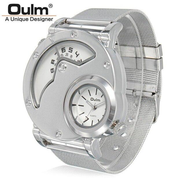 OULM бренд мужской Повседневное Нержавеющаясталь ремень Военная Униформа наручные часы Мужские часы два часовых поясов кварцевые часы Relogio