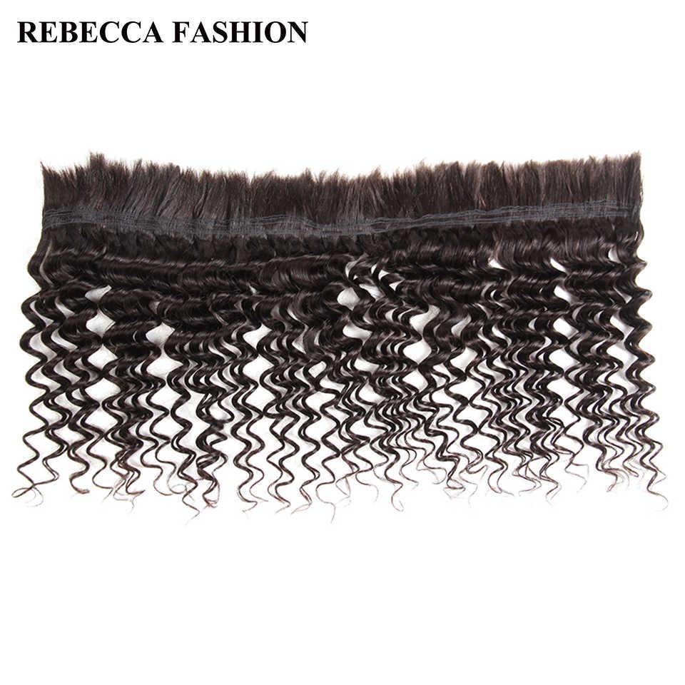 Rebecca Braziliaanse Remy Diepe Golf Bulk Menselijk Haar Voor Vlechten 3 Bundels Gratis Verzending 10 Tot 30 Inch Natuurlijke Kleur extensions