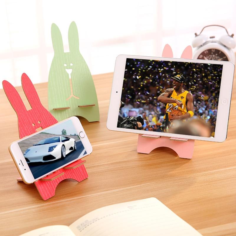 Wooden Universal Phone Holder Cute Rabbit Desk Stand Charging Bracket For BQ BQS-3503 Bombay BQS-3510 Aspen Mini BQS-4001 Oxford