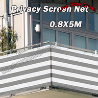 Gray/white striped privacy screen net awning fence for Deck Patio Balcony Porch 0.8X5M