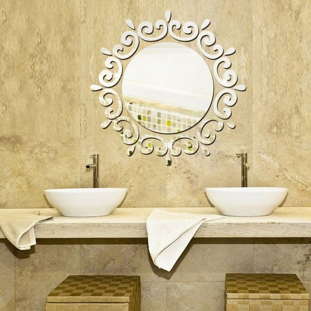 Round Mirror Fl Wall Stickers Removable Art Decal Mural Home Bathroom Decor Silver Gold