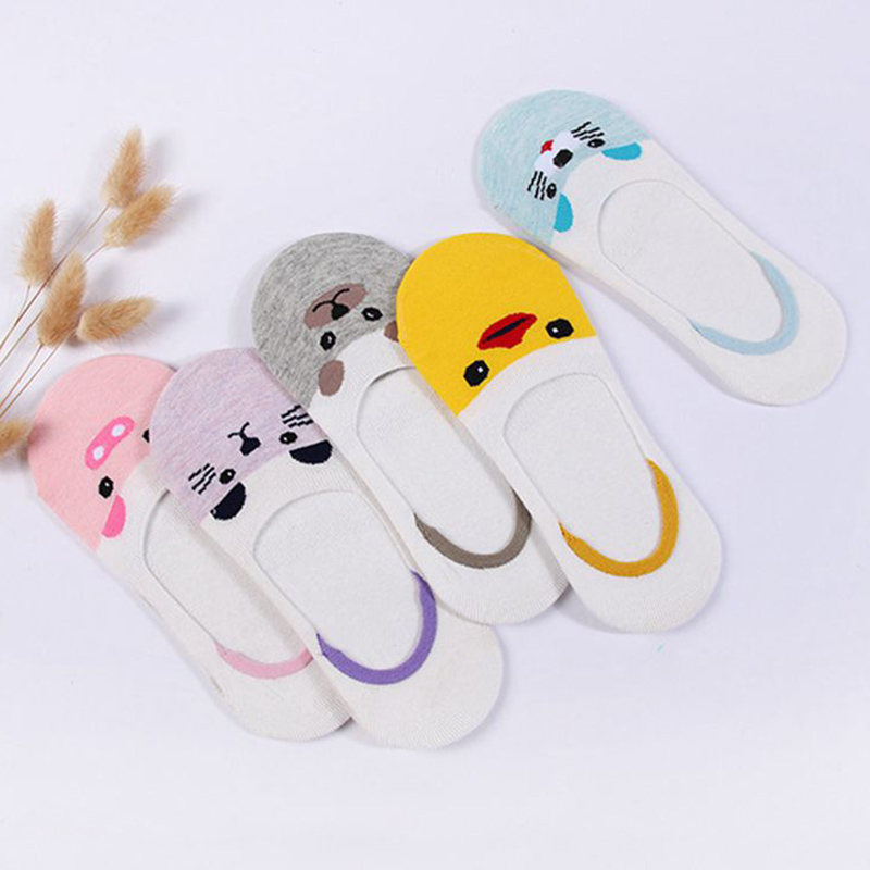 Summer Breathable Women Boat Sock Cartoon Animal No Show Socks Cute Fox Pig Duck Funny Invisible Socks Non-slip Socks C0016-2 ...