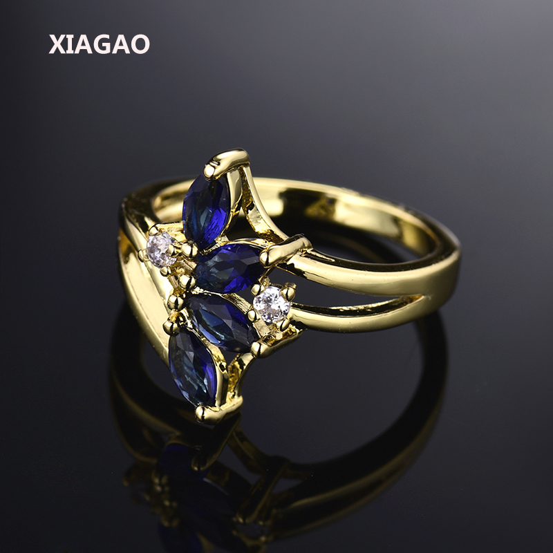 XIAGAO Delicate Flower Finger Ring  Gold-color Blue Royal Blue Crystal Zicronia Ring CZ Jewelry For New Year Gifts