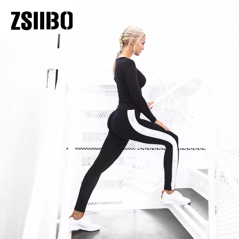 ZSIIBO warm   leggings   casual black and white fashion sports fitness   leggings   Slim high waist ladies   leggings   2019 fashion
