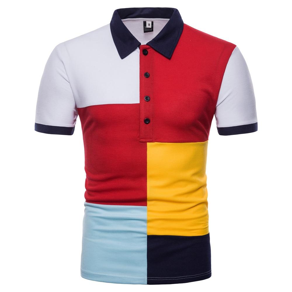 Summer Men   Polo   Shirt Short Sleeve Cotton Blends Breathable Comfortable Patchwork Slim Turn-down Collar   Polos   Men BINHIIRO New