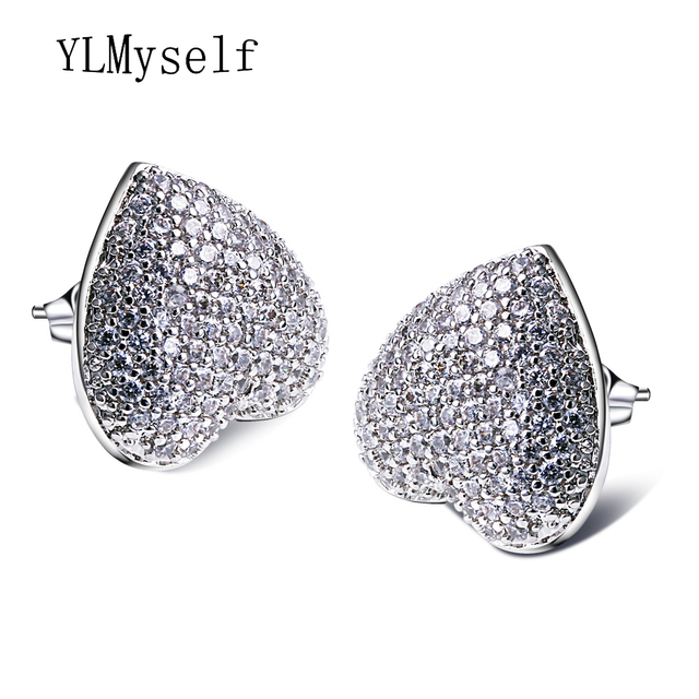 Cute and Romantic jewellery Love heart big stud earing with AAA CZ crystal jewelry White The best lover gift for her of earrings
