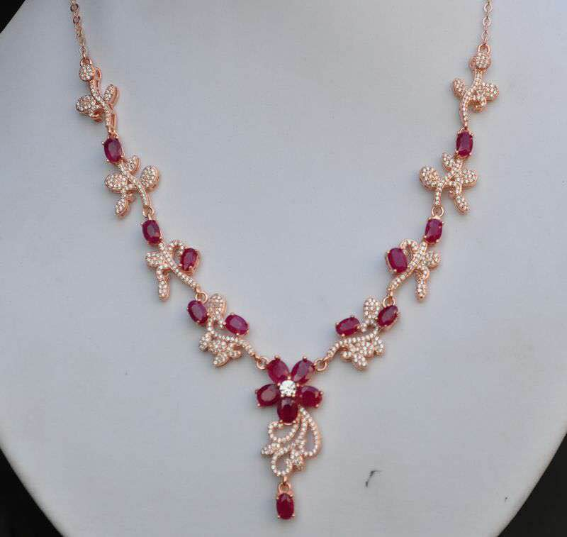 Natural Red ruby stone Necklace Natural Gemstone Pendant Necklace Girls Ladies fashion big Luxury flowers wedding