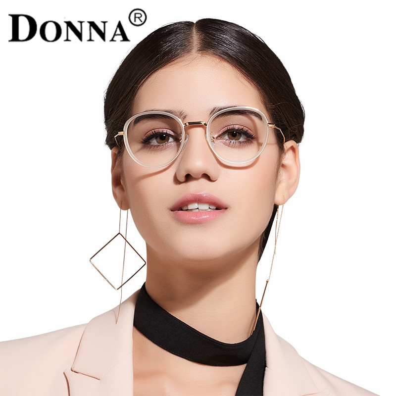 donna metal eyeglasses frames women classic optical eyeglass round big frame clear lens reading glasses ultra light frames dn12 in eyewear frames from - Womens Metal Eyeglass Frames