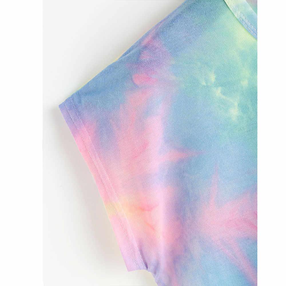 綿 Feitong 夏タイダイ O ネックファッション女性クロップトップス Tシャツトップ女性シャツカジュアル半袖ブラウス夏の女性の blus