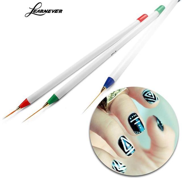 Learnever 3pcs Set Professinal Nail Art Drawing Striping Liner Pen Brush Tools Polish