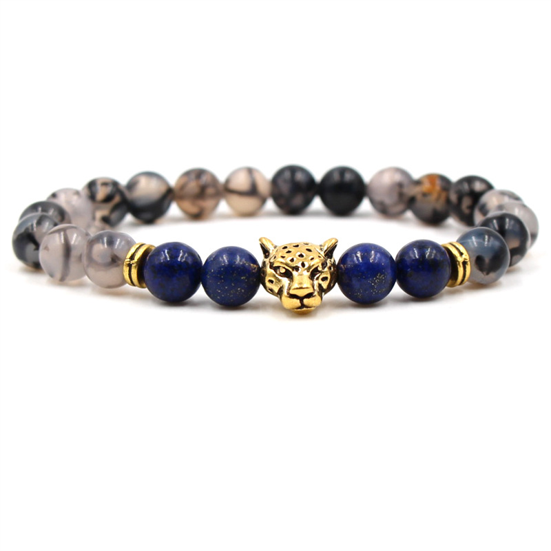 8 Styles 8MM Lapis Tiger's Eye Stone Beads Antique Leopard Lion Head Bracelet Women Men Fashion Bracelet Jewelry Animal