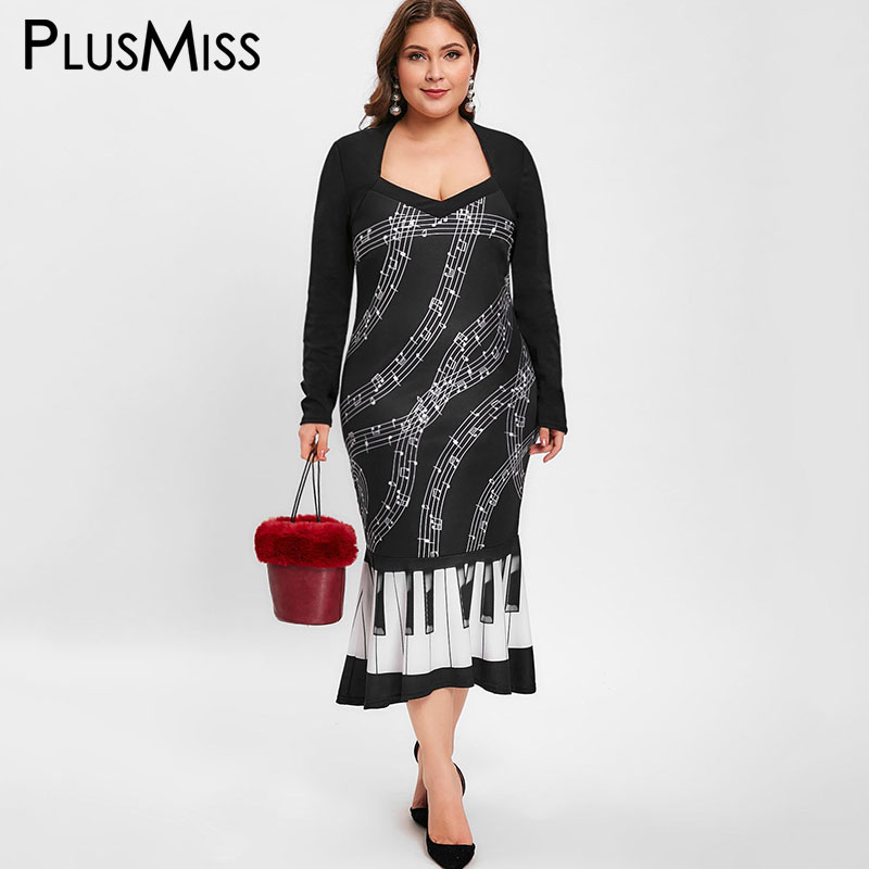 a9f11a5ff7d PlusMiss Plus Size 5XL Music Note Printed Mermaid Maxi Long Dress XXXXL  XXXL Women Big Size