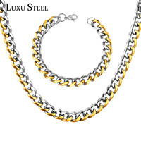 Stainless Steel Chunky Tone Cut Chain Necklace And Bracelet Jewelry Sets For Men African Jewelry