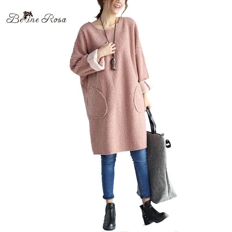 BelineRosa 2017 Women s Winter Hoodies Large Size Women Clothes Pink Black Solid Big Pockets Long