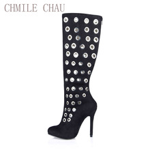 2016 Winter Sexy Party Shoes Women Stiletto High Heels Ladies Knee-High Boots Zapatos Mujer 0640CBT-1a