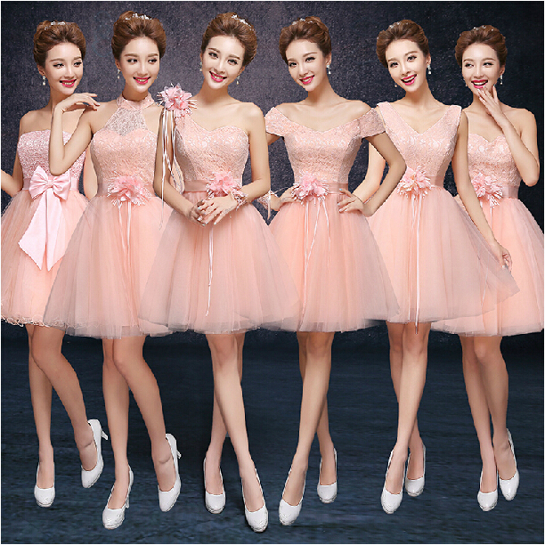 Occasion Elegant V Neck Lace Formal Trendy Peach Colored Bridesmaid Dresses Brides Maid Princess Tulle Ball