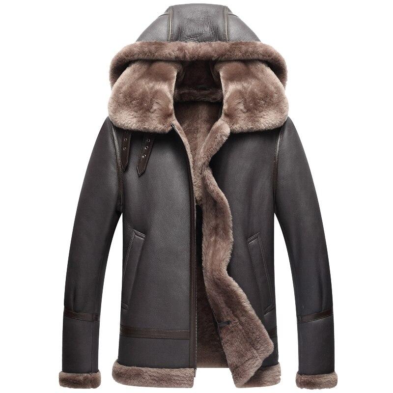 Chaqueta de cuero genuino chaqueta de invierno para hombre abrigo de piel de oveja auténtica para hombre chaquetas de bombardero de piel de cordero Natural talla grande 710 MY2017