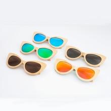 New Cat Eye Women Sunglasses Tinted Color Lens Men Vintage Shaped Sun Glasses Female Eyewear Bamboo Brand Design