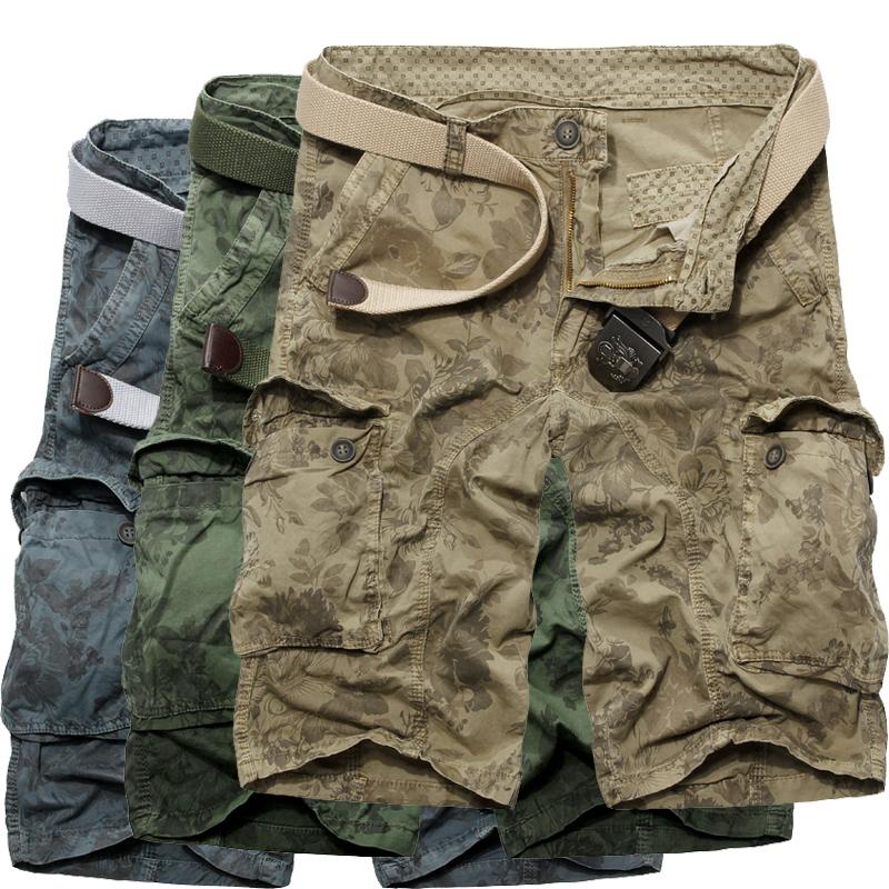 Summer Camouflage knee-length tooling shorts 100% male multi-pocket cotton capris