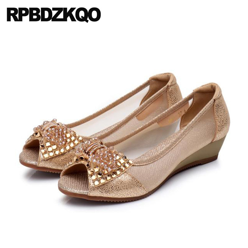 Crystal Summer Pumps Gray Gold Women Shoes For Party Wedge Big Size Golden Rhinestone Mesh Peep Toe Low Heels Bow Fish Mouth New
