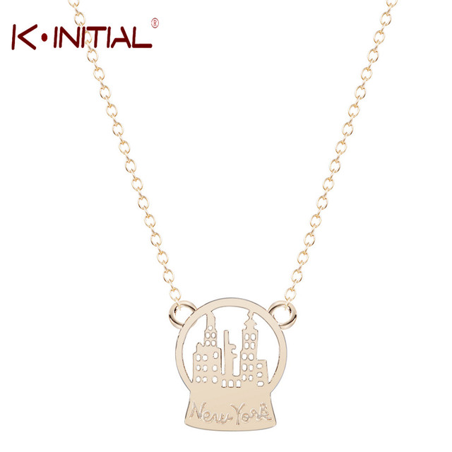 Kinitial Pcs Fashion New York Shape Jewelry Christmas Gift Snow Globe New York Charm Necklace For