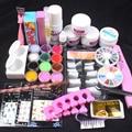 Pro Белый Очистить Розовый Акриловая Пудра Жидкость Французский Nail Наклейки Кисть Клей Nail Art Совет Kit Установить #76