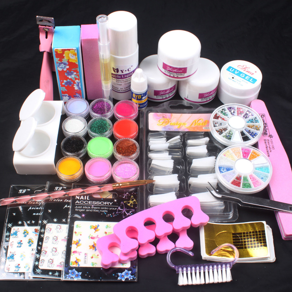 Pro White Clear Pink Acrylic Powder Liquid French Nail Sticker Brush Glue Nail Art Tip Kit Set #76