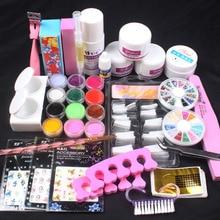Pro White Clear Pink Acrylic Powder Liquid French Nail Sticker Brush Glue Nail Art Tip Kit Set #76