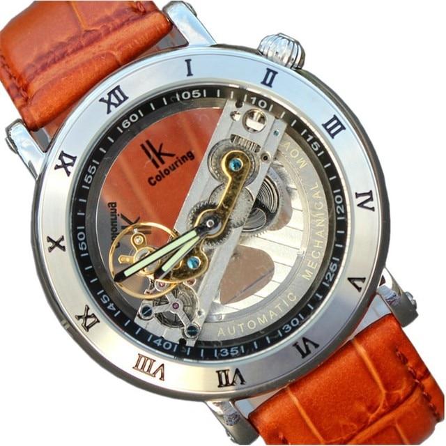 78df03be323 Qualidade IK coloração Luxo silf-vento homem mecânico automático relógio  esqueleto pulseira de couro genuíno