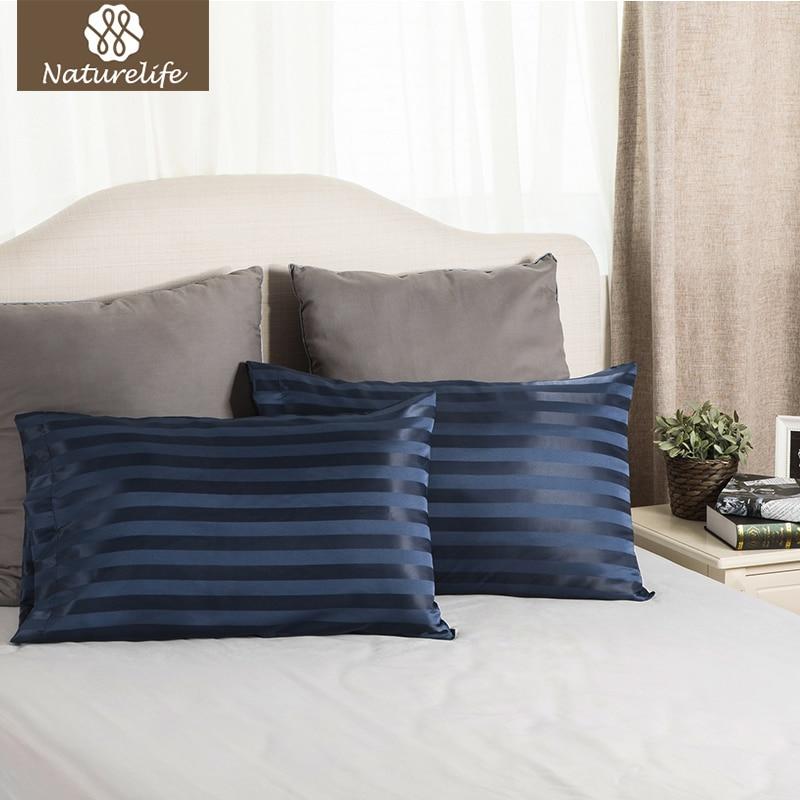 Naturelife Blue Jacquard Stripes Silk Satin Pillowcase