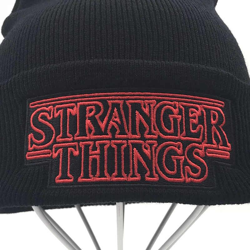 ... new Men Women Teenagers Warm Beanine Winter Hat Dustin Stranger Things  Dustin Black Knit Beanie Knitted ... 387f9b6f36d2
