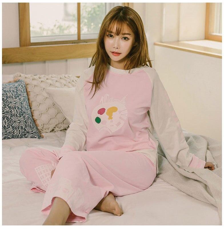 Lovely Pyjamas for Women Girls 2018 Spring Autumn Pijamas Mujer Plus Size Loose Pajama Suit Sleepwear Nightie Pink Blue Homewear Пижама