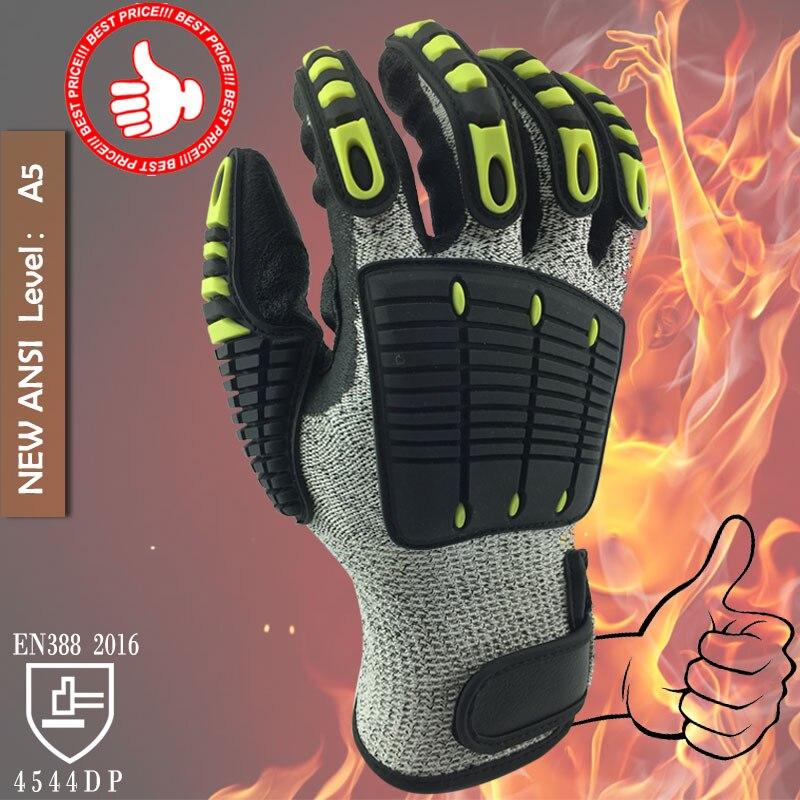 NMSafety guantes de trabajo de alta calidad resistentes al corte y a las vibraciones guantes de seguridad HPPE + guantes Anti cortes y golpes