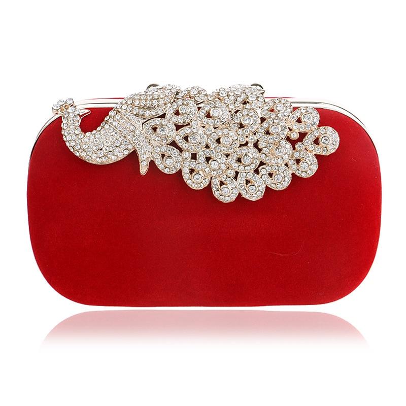 Diamond Peacork Lock Dress Formal Handbag Woman Wristlets Day Clutch Lady Wedding Evening Shoulder Bag Small Purse