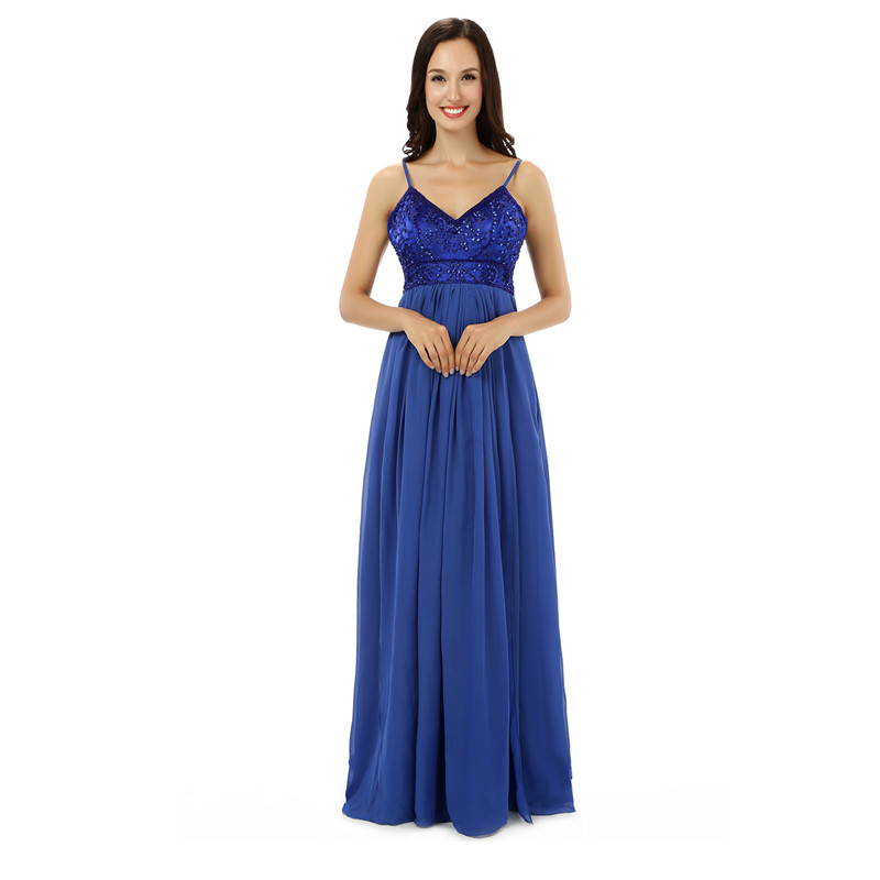 Real Model Spaghetti Straps Floor-Length Cheap Royal Blue Prom Dress 2017 Homecoming Dresses Lace Appliques Vestido De Formatura