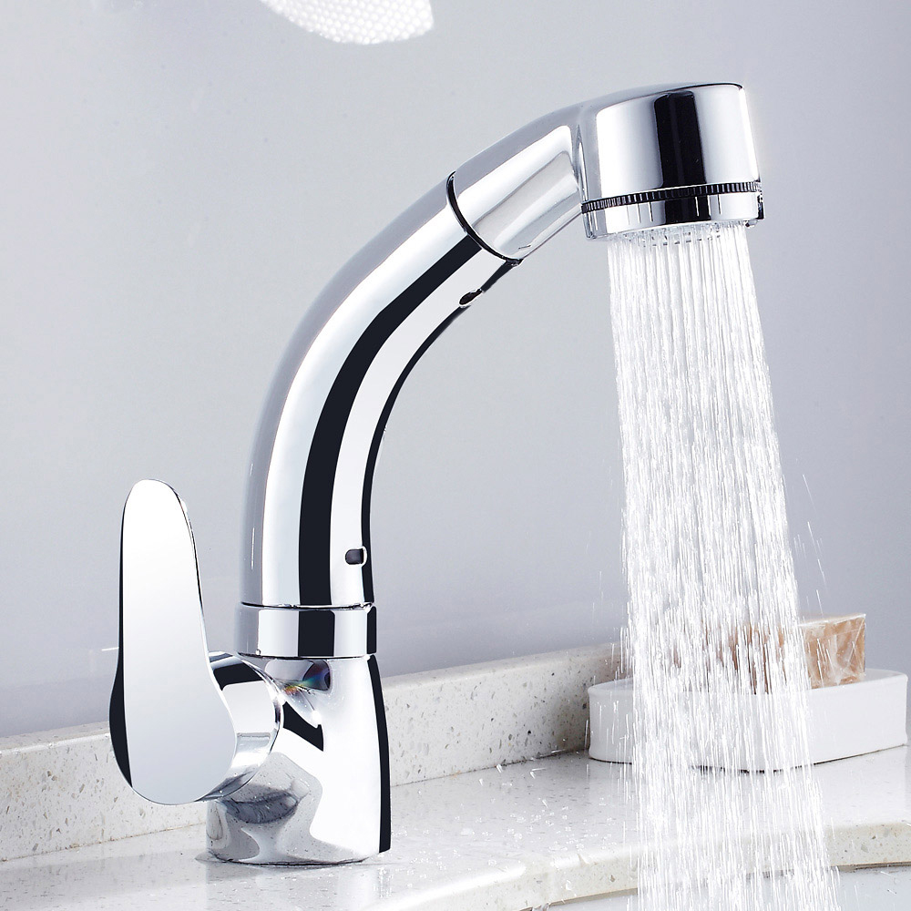 Pull Out Bathroom Sink Faucet Hot and Cold Water Mixer Crane Lift Up ...