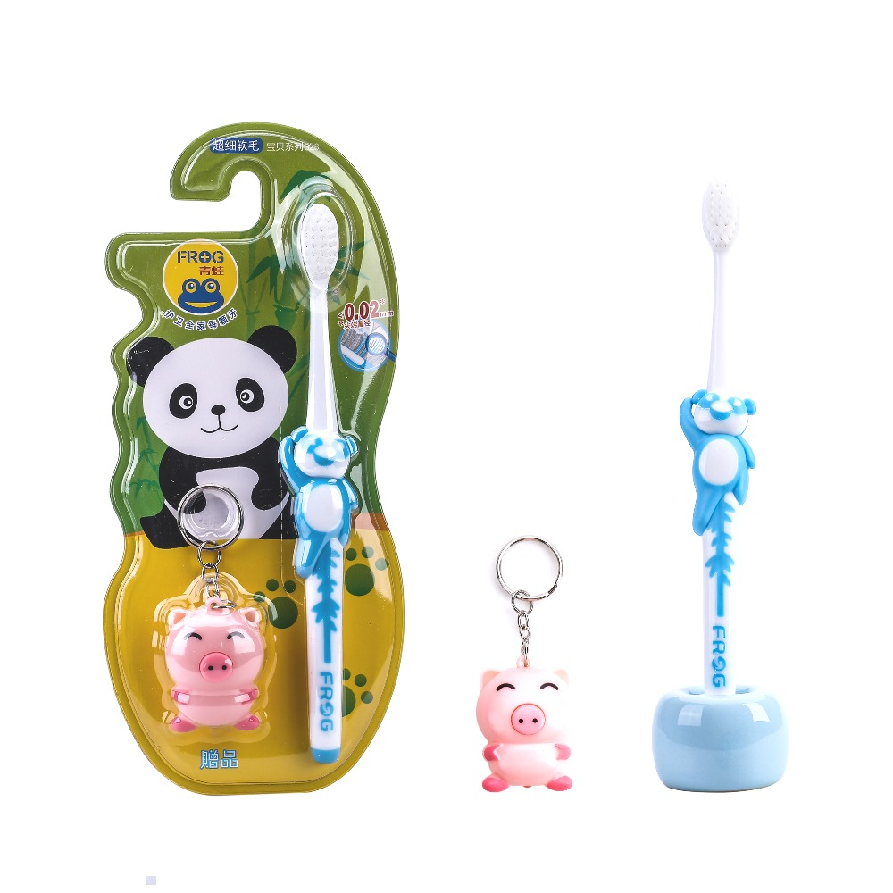 Children's toothbrush panda with soft hair care the soft rubber handle toothbrush send cute cartoon accesories Color random image