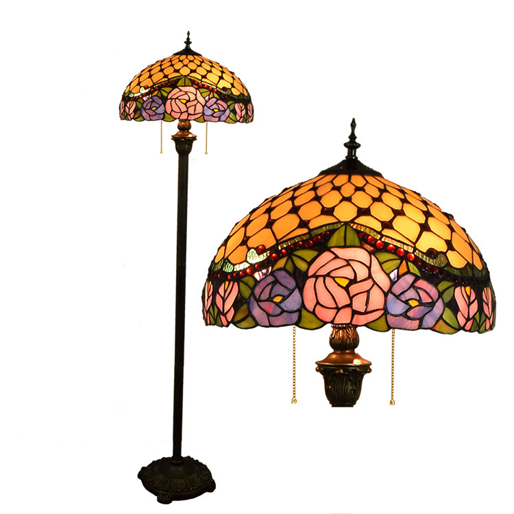 European style Tiffany rose flower Stained Glass floor lamp for dining room bedroom lamp E27 110-240V