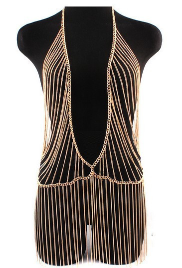 Chran Sexy Unique Design Gold Beach Chain Fashion Women Metal Gold Tassel Beach Harness Chain Necklace Dress Jewelry Accessories