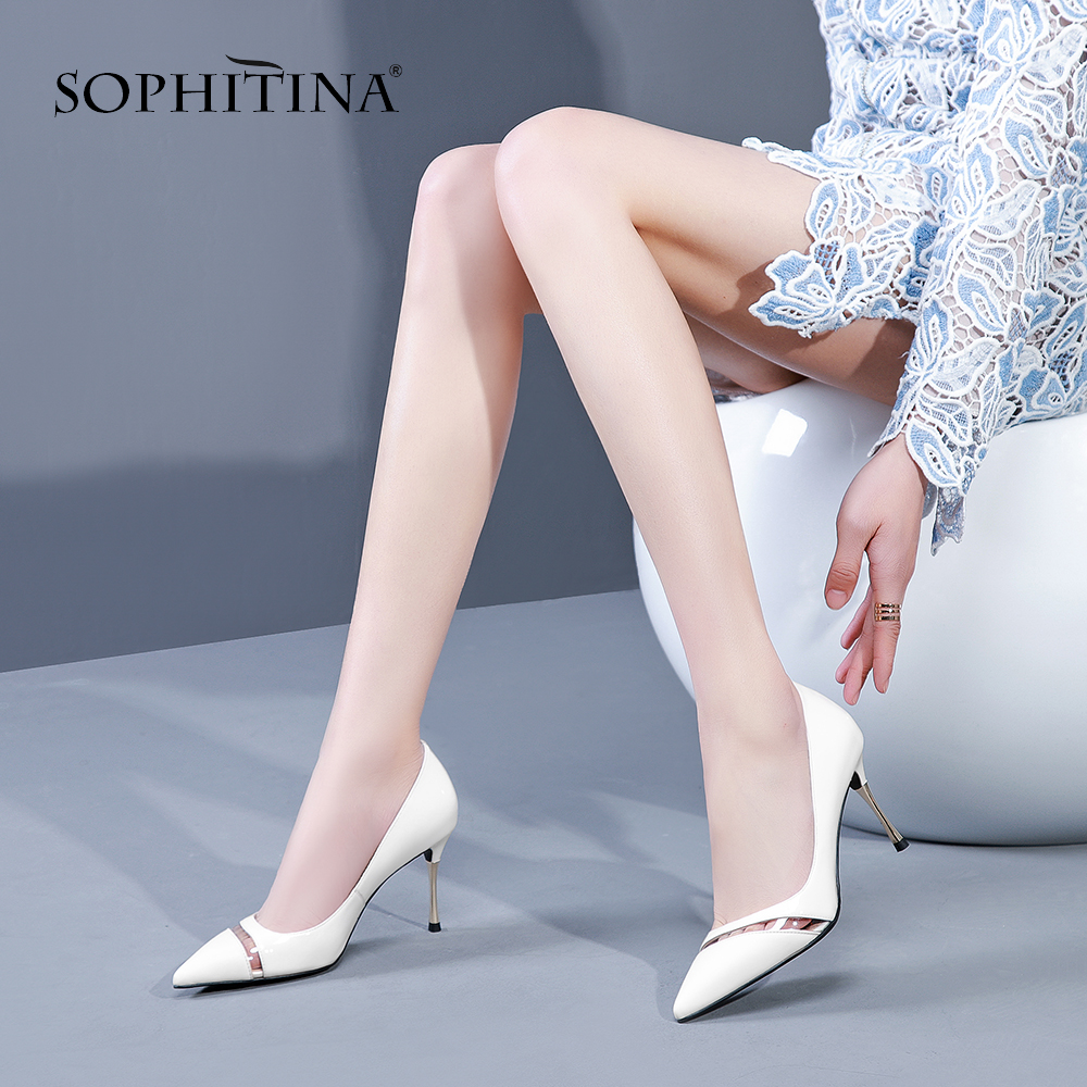 SOPHITINA Fashion High Thin Heels Pumps Pointed Toe High Quality Cow Leather Office Shoes Elegant Hot Sale Women's Pumps SO176