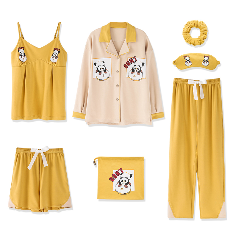 Autumn Winter 7PCS 100% Cotton Turn Down Collar   Pajamas     Sets   Casual Women Home Sweet Soft Print Pattern Nightwear Comfortable