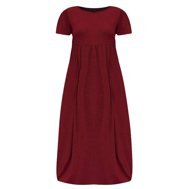 New Fashion Large Size Loose Casual Dress Large Size women s Solid Color short-sleeved Dress Loose Summer Dresses Plus Size