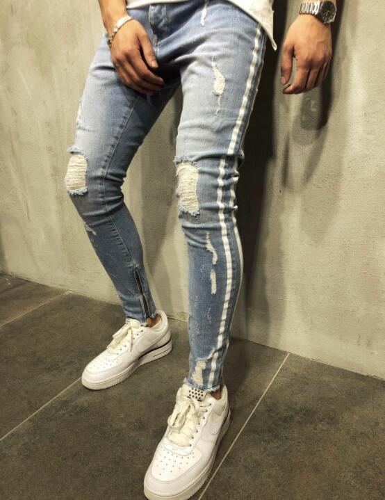 Aelfric Eden Mens Biker Jeans Fashion Casual Pants Graffiti Ripped Hole 2018 Distressed Slim Denim Jean Hip Hop Streetwear Sophisticated Technologies
