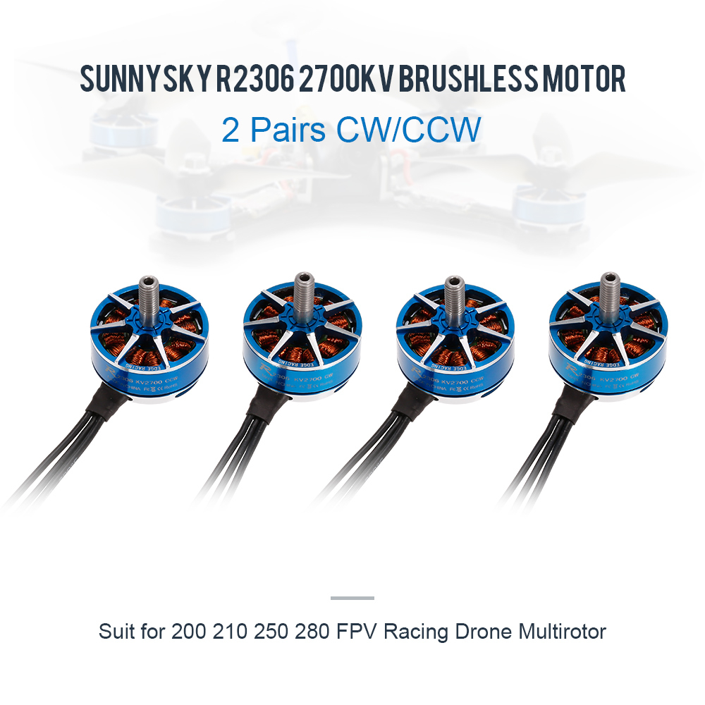 2 Pairs SUNNYSKY R2306 2700KV CW CCW 3-4S Brushless Motor for 210 QAV250 FPV Racing Drone Multirotor Quadcopter RC Servo Motor high quality racerstar racing edition 2306 br2306s 2700kv 2 4s brushless motor for rc toys x210 x220 250 fpv racer drone