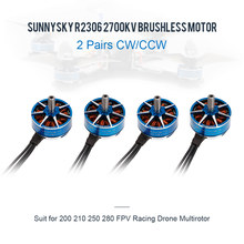 2 Pairs SUNNYSKY R2306 2700KV CW CCW 3-4S Brushless Motor for 210 QAV250 FPV Racing Drone Multirotor Quadcopter RC Servo Motor(China)