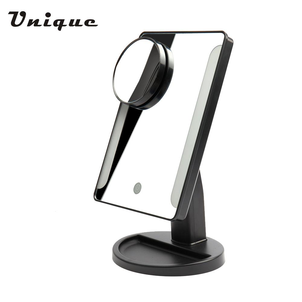 Adjustable 36 LED Light Cosmetic Square Vanity Desk Stand Makeup Mirror   10X Magnifying Round Mirror