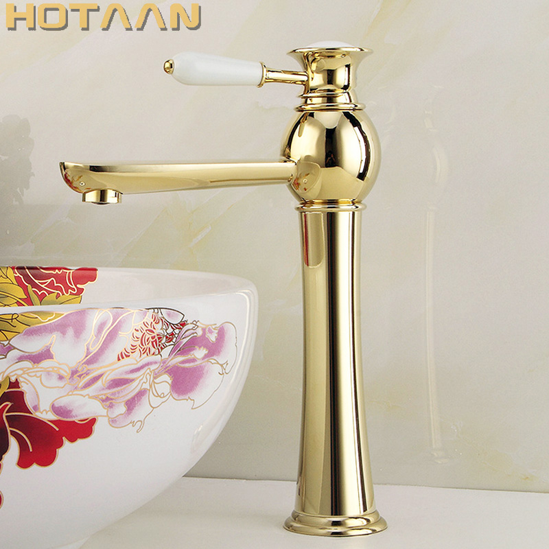 Free Shipping New arrival Bathroom gold Basin Faucet Gold finish Brass Mixer Tap with ceramic torneiras